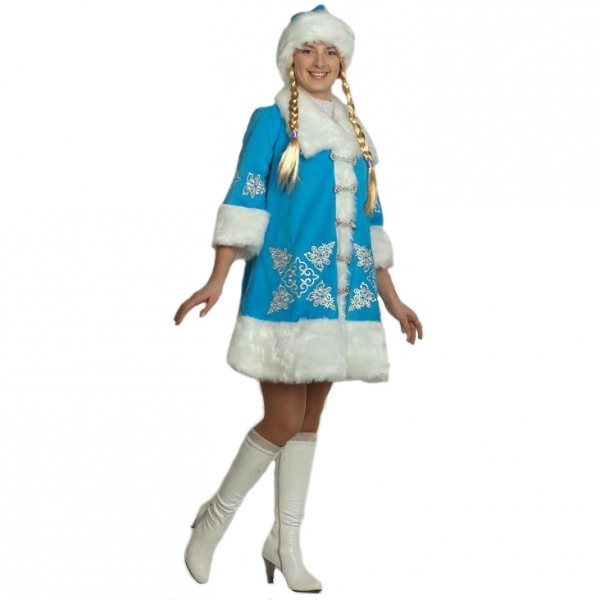Маскарадный костюм Снегурочка вышивка (плюш) арт. 1113