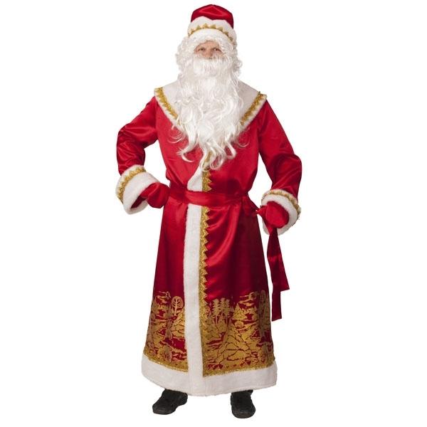 Дед Мороз сатин красный пейзаж золото арт 5099