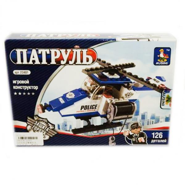 Детский игровой конструктор полицейский вертолет