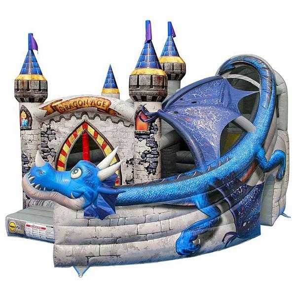 Детский надувной батут Замок дракона с горкой 1031