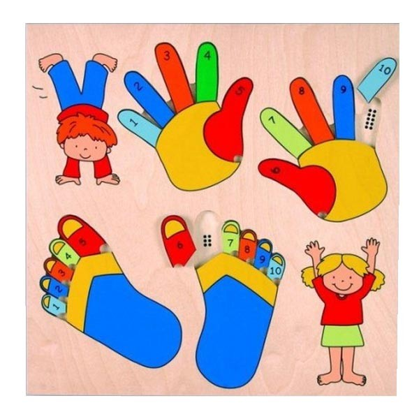 Детская развивающая игра  пазл-вкладыш «Сосчитай пальчики» арт. 522969