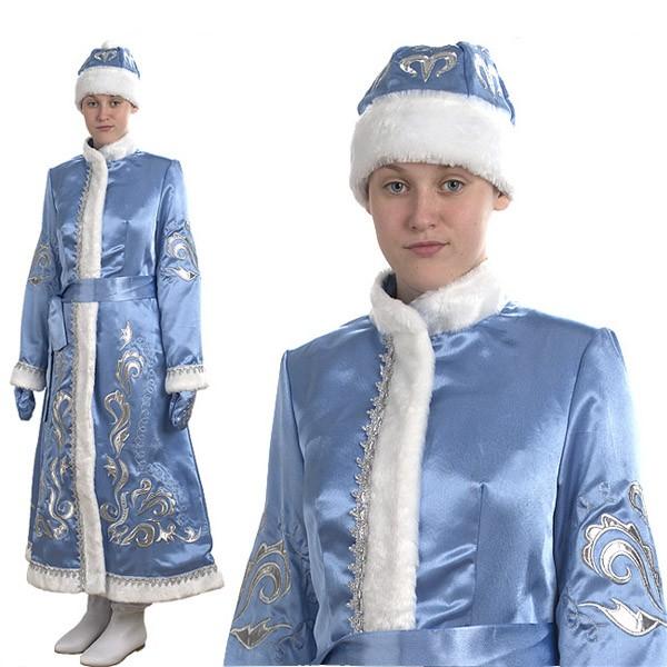 Снегурочка длинная приталенная голубой бархат с вышивкой