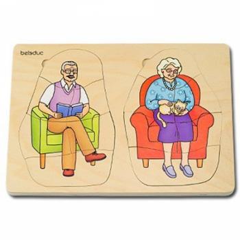 Детская развивающая игра Многослойный пазл «Бабушка и дедушка»  арт. 17028