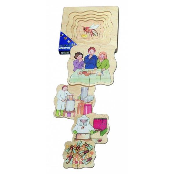 Детская развивающая игра Многослойный пазл «Как получают мёд»  арт. 17031