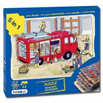 Детская развивающая игра Многослойный пазл «Пожарная команда»  арт. 17035