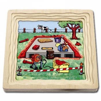 Детская развивающая игра Многослойный пазл «Как построить дом» арт. 17036
