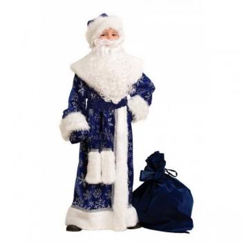 Карнавальный костюм Дед Мороз плюш синий