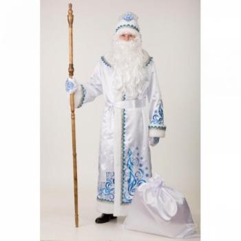 Костюм Дед Мороз сатин аппликация белый
