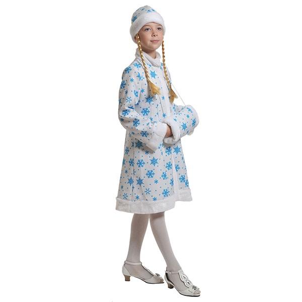 Костюм Снегурочка ткань-плюш белая k7007