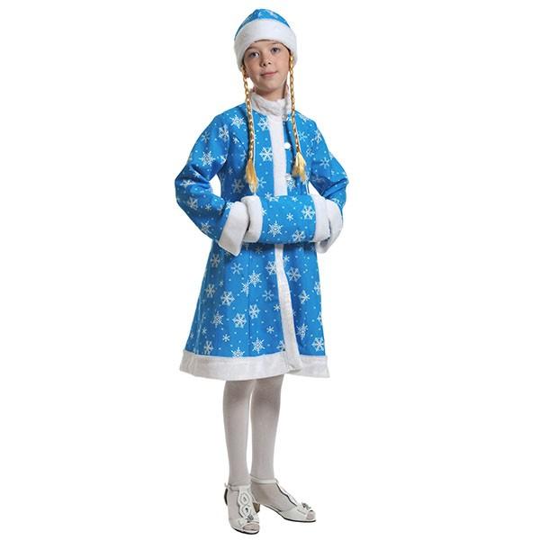 Костюм Снегурочка ткань-плюш бирюза k7008