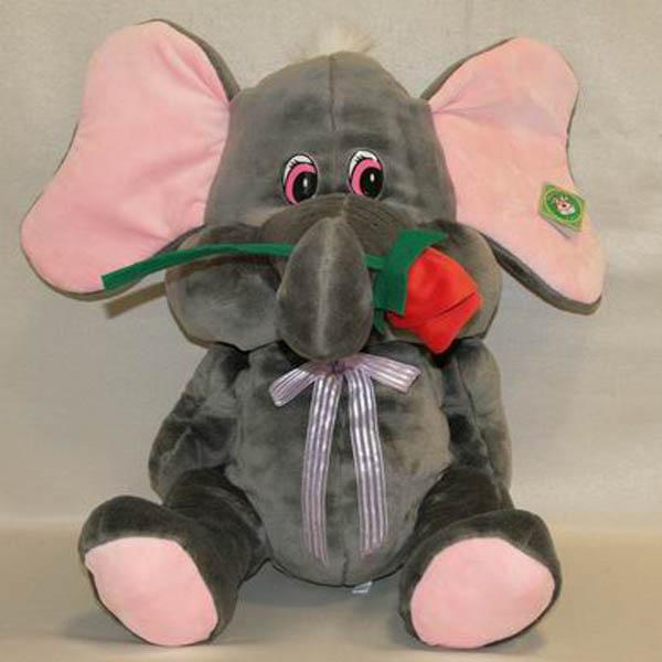 Мягкая игрушка Слон с цветком мех арт. 91072