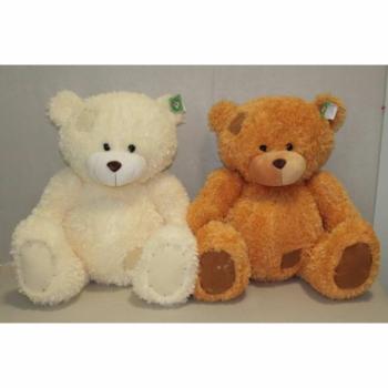 Мягкая игрушка Мишка белый и коричневый с заплаткой арт. 92019