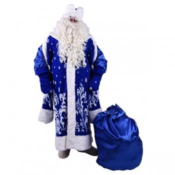 Карнавальный костюм Дед Мороз Боярский синий