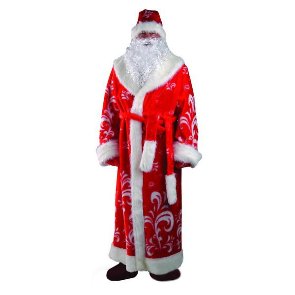 Карнавальный костюм Дед Мороз (мех, узор красный)
