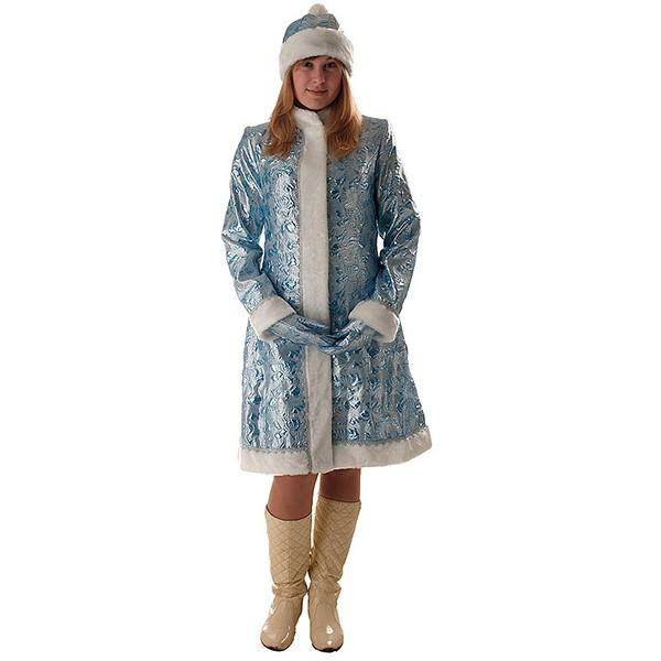 Костюм Снегурочка Классическая парча голубая