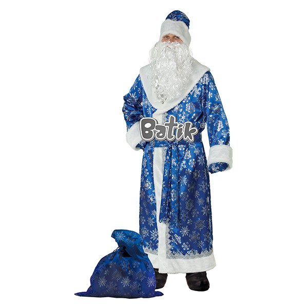 Костюм Дед Мороз сатин синий арт 188-1
