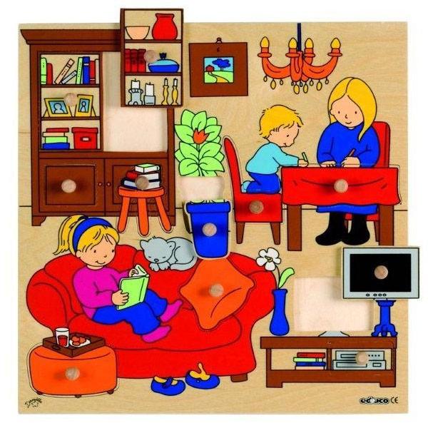 Детская развивающая игра  пазл-вкладыш «Гостиная» арт. 522918