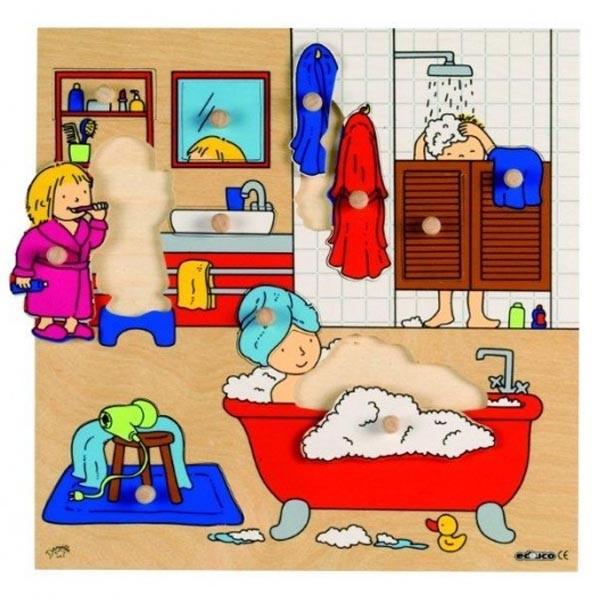 Детская развивающая игра  пазл-вкладыш «Ванная комната» арт. 522916