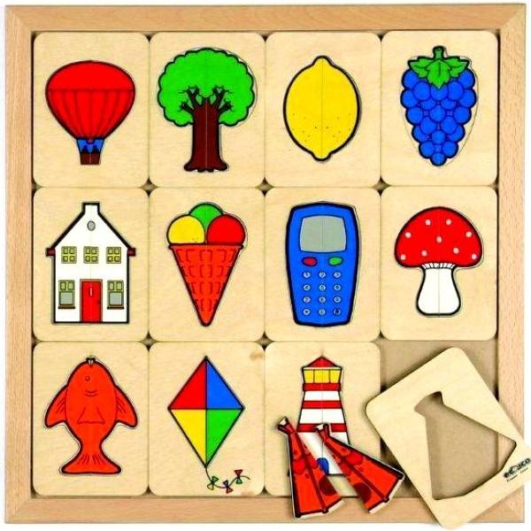 Детская развивающая игра Пазлы-вкладыши «Фигуры из 2 частей» арт. 522089